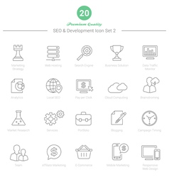 Set of Thin Line SEO and Development icons Set 2 vector