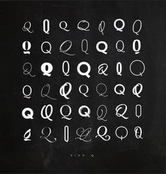 set symbol q for letters chalk vector image