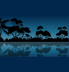 Silhouette of forest with reflection scenery vector