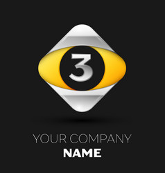 silver number three logo in silver-yellow square vector image