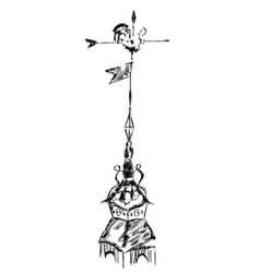 sketch of old chicken metal weather vane vector image