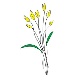 sketch yellow spring flowers basic rgb on vector image