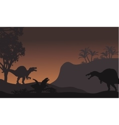 Spinosaurus in forest at night scenery vector