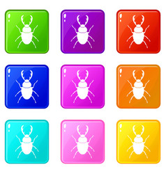 Stag beetle set 9 vector