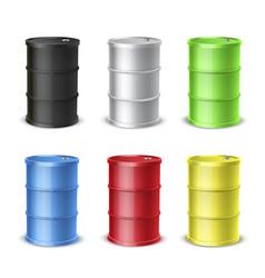 steel barrels realistic colorful vector image