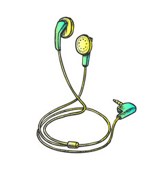 Stereo earphone digital gadget color vector