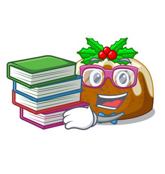 Student with book christmas pudding isolated on vector