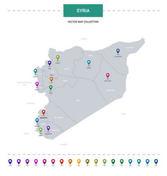 syria map with location pointer marks infographic vector image
