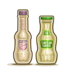 Tartar and garlic sauce bottles vector