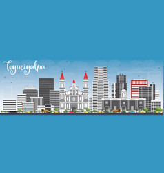 tegucigalpa skyline with gray buildings and blue vector image