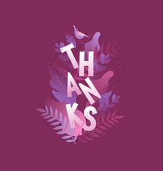 thank you greeting card vertical poster vector image