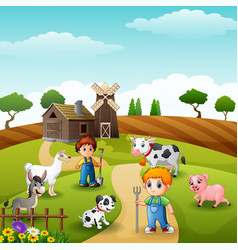 The farmers keeping animals in farm at morning vector