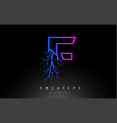 Tree letter f design logo with purple blue tree vector