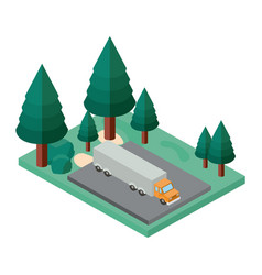 Truck parking and trees scene isometric icon vector