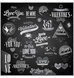 Valentine emblems chalk vector