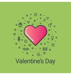 Valentines day green flat line heart vector