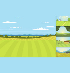 Village landscapes farm house vector