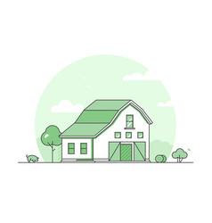 village - modern thin line design style vector image
