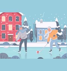 winter street hockey composition vector image