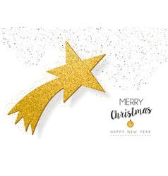 Year gold glitter star greeting card vector
