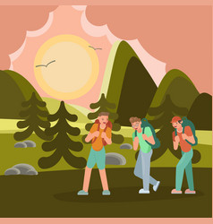 Young travelers hiking vector