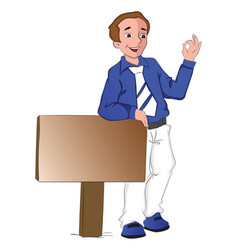 businessman leaning on signboard showing ok sign vector image vector image
