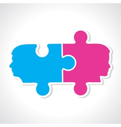 Male and female face with puzzle pieces vector image vector image