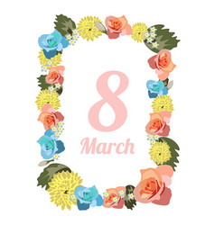 postcard to march 8 with flowers vector image vector image