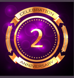 two years anniversary celebration with golden ring vector image