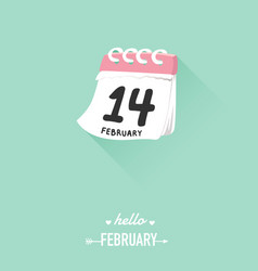 14th february on calendar for valentine concept vector image vector image