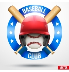 Baseball ball and helmet with ribbons vector image