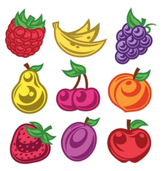 Colorized Stylized Fruit Icons vector image vector image