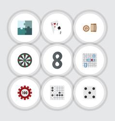 flat icon entertainment set of jigsaw ace sea vector image