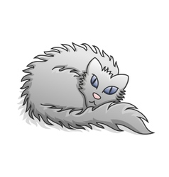 Light Grey Fluffy Cat vector image vector image