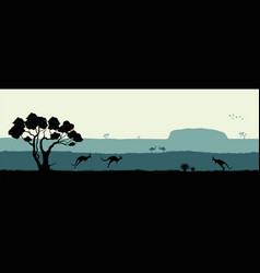 australian landscape black silhouette vector image vector image