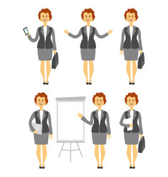 cartoon woman character in various poses business vector image vector image