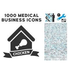 Chicken Cafe Icon with 1000 Medical Business vector image vector image