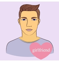 Man with girlfriend in heart vector image vector image