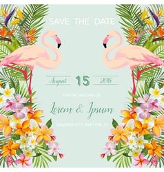 Wedding Card Tropical Flowers Flamingo Bird vector image vector image