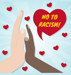 hands of different races palm to palm red hearts vector image vector image