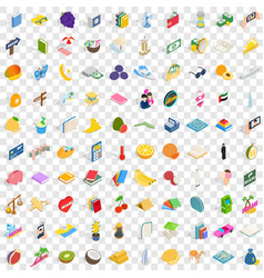 100 happiness icons set isometric 3d style vector image
