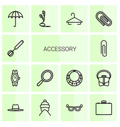 14 accessory icons vector