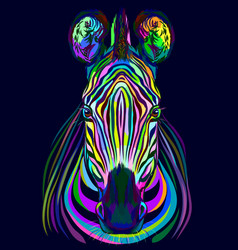 abstract multicolored portrait zebra head vector image