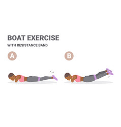 African american girl doing back strength fitness vector