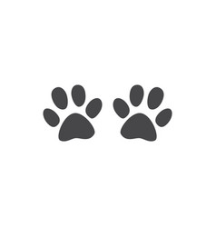 animal paw track - monochrome silhouette of cat or vector image