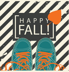 Autumn banner with words happy fall and shoes vector