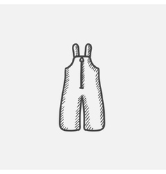 Baby winter overalls sketch icon vector image