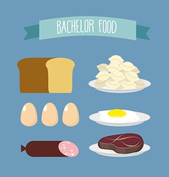 Bachelor food Set of products for food unmarried vector