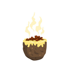 Baked jacket potato tasty delicious hot fast food vector