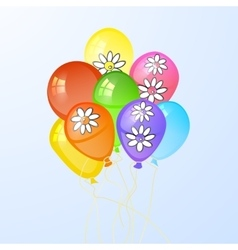 balloons in the form of a circle with flowers vector image